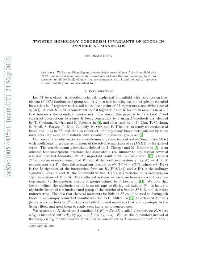Prudence Heck - Twisted homology cobordism invariants of knots in aspherical manifolds