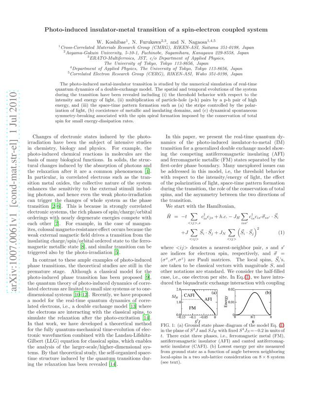 - Photo-induced insulator-metal transition of a spin-electron coupled system