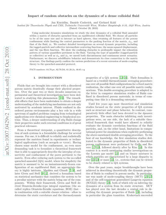 Jan Kurzidim - Impact of random obstacles on the dynamics of a dense colloidal fluid