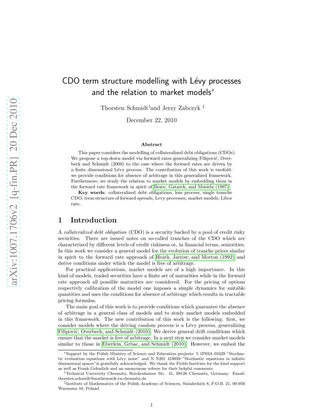 Thorsten Schmidt - CDO term structure modelling with Levy processes and the relation to market models
