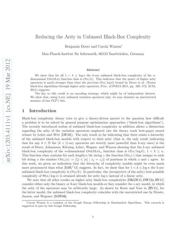Benjamin Doerr - Reducing the Arity in Unbiased Black-Box Complexity