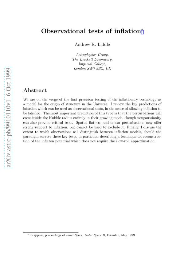 Andrew R Liddle - Observational tests of inflation