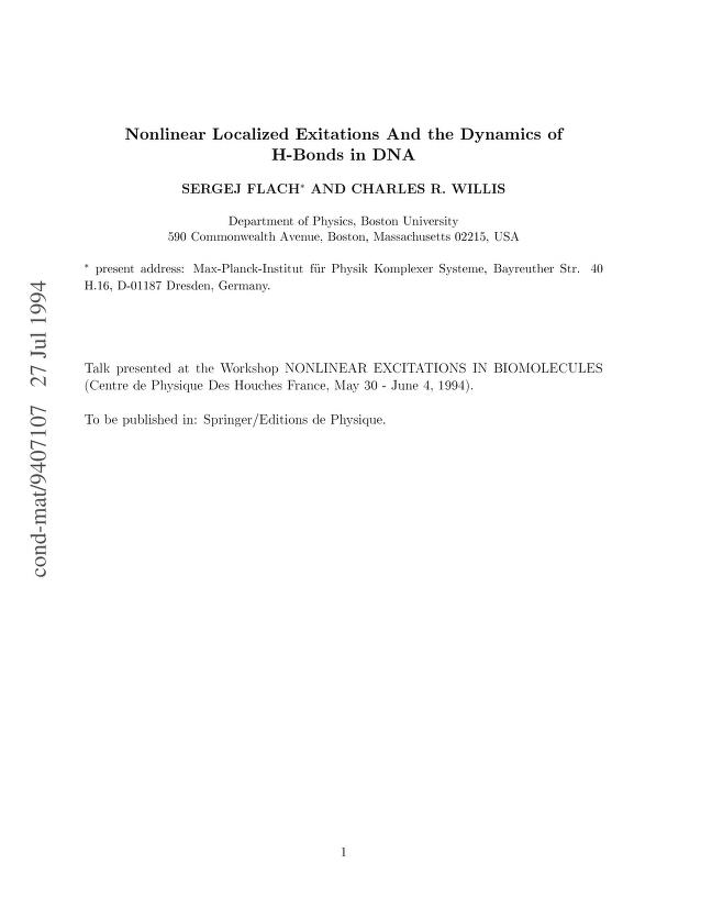 S. Flach - Nonlinear Localized Excitations and the Dynamics of H-Bonds in DNA