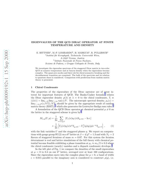 Elmar Bittner - Eigenvalues of the QCD Dirac operator at finite temperature and density