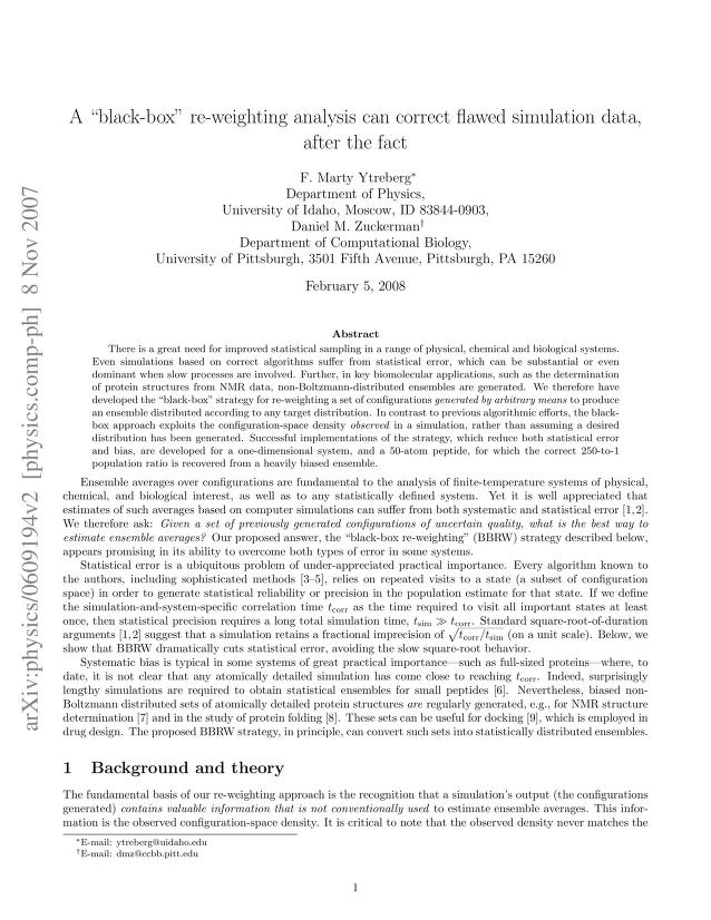 """F. Marty Ytreberg - A """"black-box"""" re-weighting analysis can correct flawed simulation data, after the fact"""