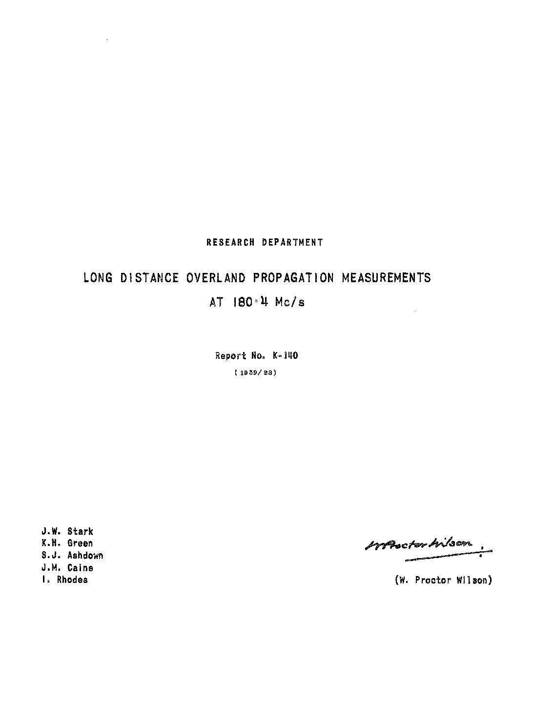 K.H. Green, S.J. Ashdown, J.M. Caine, I. Rhodes J.W. Stark - BBC Research and Development Report 1959-23 : Long distance overland propagation measurements at 180.4 Mc/s.